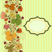 Vector seamless doodle border of flowers and berries with frame — Stock Vector