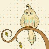 Vector doodle background with bird — Stock Vector