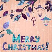 Scrap-booking Christmas card — Stock Vector