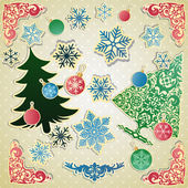 Vector scrapbooking set for Christmas — Stock Vector