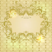 Vector damask background with floral calligraphic frame — Stock Vector