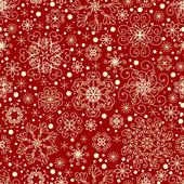 Fondo rojo navidad con copos de nieve — Vector de stock