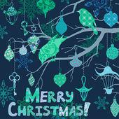 Dunkel blau weihnachtskarte mit vögeln und dekorationen — Stockvektor