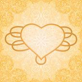 Romantique grungy invitation vintage avec motif floral et cadre — Vecteur
