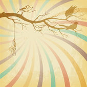 Grungy retro background with tree branch and birds silhouettes — Stock Vector
