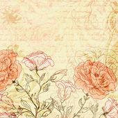 Grungy sfondo retrò con rose e farfalle — Vettoriale Stock