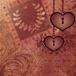 Vintage background with wedding invitation and two heart locks — Stockvectorbeeld