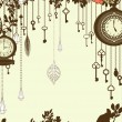 Stock Vector: Clock and keys vintage vertical background