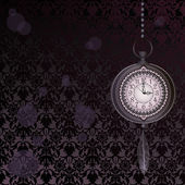 Abstract dark velvet wallpaper with pocket watches — Stock vektor