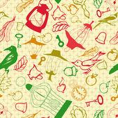 Romántico de patrones sin fisuras con objetos retro — Vector de stock