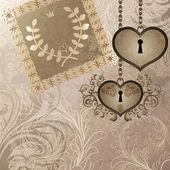 Vintage achtergrond met bruiloft uitnodiging en twee hart sloten — Stockvector
