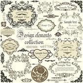 Vector conjunto de elementos de diseño caligráfico y marcos flores — Vector de stock