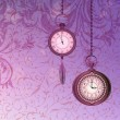 Abstract wallpaper with green floral branches and pocket watches — Imagen vectorial