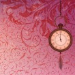 Abstract wallpaper with pink floral branches and pocket watch — Imagen vectorial