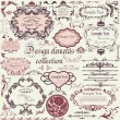 Vector set of calligraphic design elements and floral frames - Imagens vectoriais em stock