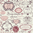 Vector set of calligraphic design elements and floral frames - Stok Vektör