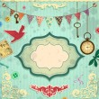 Vintage scrapbooking card - Stock Vector