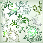 Set of vintage colorful floral branches — Stock Vector