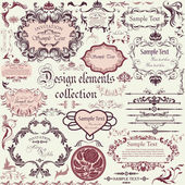 Vector set di elementi di design calligrafico e cornici floreali — Vettoriale Stock