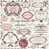 Kaligrafi tasarım öğeleri ve floral çerçeveler vektör kümesi — Stok Vektör