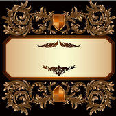 Vintage frame with heraldic detailed golden floral branches — Stock Vector