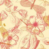 Flower seamless pattern with dragonflies — Cтоковый вектор