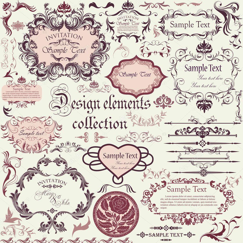 Set Of Black Flower Design Elements Stock Vector: Vector Set Of Calligraphic Design Elements And Floral