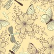 Royalty-Free Stock Vector Image: Seamless pattern with flowers and butterflies