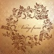Antique floral frame on seamless golden damask backdrop. — Stockvektor