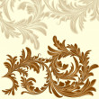 Vintage background with calligraphic detailed floral branch - Imagens vectoriais em stock