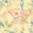Spring pattern with butterflies and birds on apple flowers, — Imagens vectoriais em stock