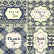 Set of vintage thank you cards with knitted background — Stock Vector