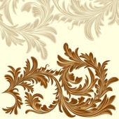 Vintage background with calligraphic detailed floral branch — Stock Vector