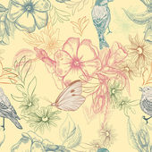 Spring pattern with butterflies and birds on apple flowers, — Stockvector