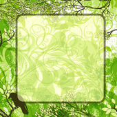 Vector green square background with tree branches and crow — Stock Vector