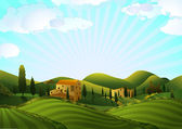 Rural landscape with fields and hills — Stockvector