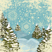 Winter grungy postcard with snowy Christmas trees — Stock Vector