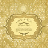 Vector grungy invitation with antique clocks — Cтоковый вектор