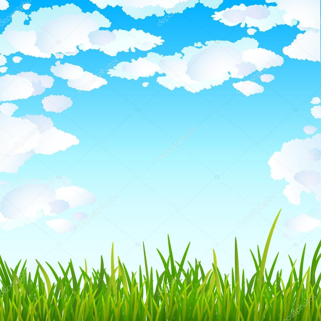 Background with bright blue sky and green grass — Stock ...