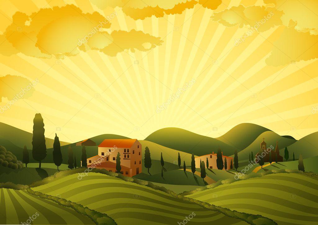 Landscape Illustration Vector Free: Rural Landscape With Fields And Hills