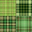 Royalty-Free Stock Imagen vectorial: Set of green seamless swatches of rough cotton fabric