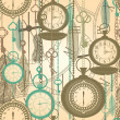 Vintage seamless pattern with watches, feathers and keys — Imagens vectoriais em stock