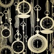 Vintage seamless pattern with watches, feathers and keys — 图库矢量图片