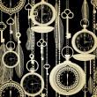 vintage padrão sem emenda com relógios, penas e chaves — Vetorial Stock
