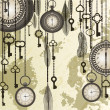 Antique background with grungy map and clocks — Stock Vector #20206745