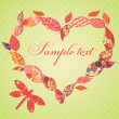 Royalty-Free Stock Vector Image: Scrap-booking Valentine card with frame of patch leaves