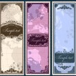 Set of three vintage bookmarks with map parts - Stock Vector