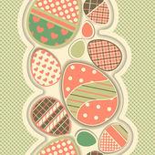 Easter retro seamless border with eggs. — Stock Vector