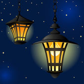 Night with light lanterns and stars. Easy editable background. — Stock Vector