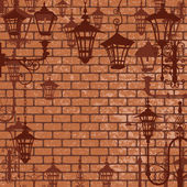 Old town background with wrought lanterns — Stockvector